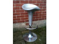 Silver Bar Stools with Chrome Base