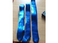 3x royal blue silky ties
