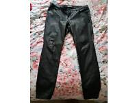 A pair of leather look jeans from Dorothy Perkins size 18