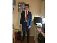 Boys Blue suit from slaters worn twice and tan shoes size 8