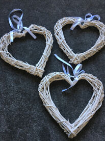 Large white wicker hearts x 3 from Dunelm Mill