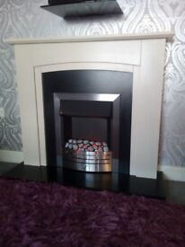 Katell Derwent large electric fireplace suite in sandstone rrp £399