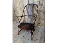 Ercol Chairmaker's chair fireside armchair grandfather cowhorn elm dark vintage gplanera