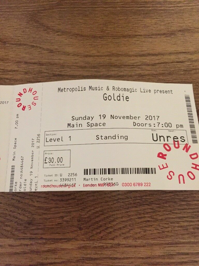 1 ticket for Goldie 19th November Camden roundhouse