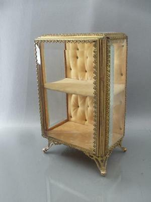 ANTIQUE GOLD ORMOLU FILIGREE & BEVELED GLASS TUFTED JEWERLY VITRINE CASKET BOX