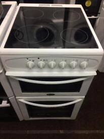 White belling 50cm ceramic hub electric cooker grill & double fan assisted ovens with guarantee