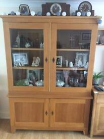 Solid oak dresser/ display cabinet