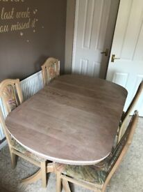 Limed Oak Extendable Dining Table & 4 Chairs with matching Corner Unit