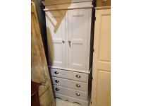 WARDROBE CHEST OF DRAWERS LINEN PRESS SOLID PINE PAINTED GREY FRENCH FARMHOUSE STYLE