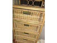Wicker chest of drawers, basket & coffee table