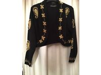 Black cropped cardigan with gold braid
