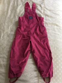 Waterproof Fleece lined dungarees Age 3-4