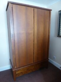 Double door, dark brown, solid wood wardrobe, with large drawer