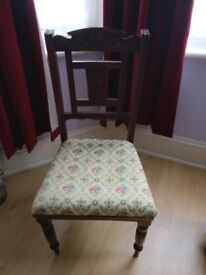 Vintage carved bedroom or dining chair with tapestry fabric seat