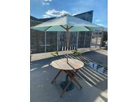 Patio table and parasol