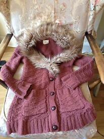 Wooly cardigan with fur collar