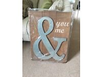 2 x solid wooden arrow signs and one solid wood and metal 'Me & You' sign brand new