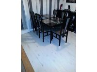 6 chair dining set good condition black ash