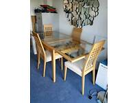 Calligaris Extendable Glass Wood Dining Table + 4 cream chairs