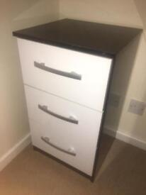 Black and white 3 draw bedside table