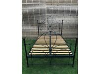 Very elegant black metal double bed frame, great quality with mattress