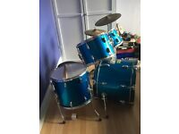 Full size drum kit with stool, sticks & music stand