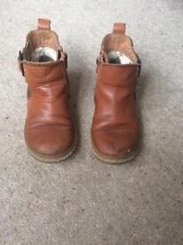 Next girls tan leather boots infant size 9