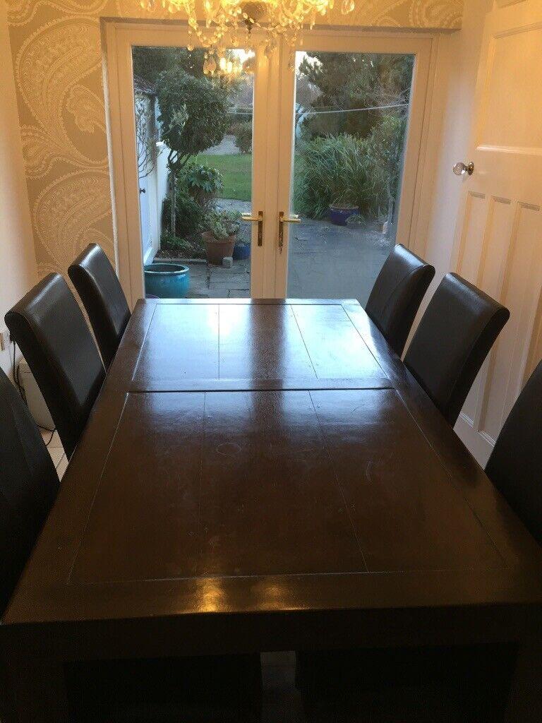 Dining Table In Dark Brown Mango Wood With 6 Dark Brown