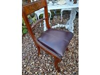 Yew / Light Mahogany Antique Style Leather Desk Dressing Table Dining Chair with Inlay