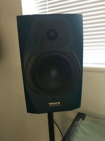 2 x Tannoy Reveal Active Studio Speakers with Stands and leads