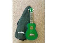 Makala soprano dolphin ukulele green burst RRP £50 good condition