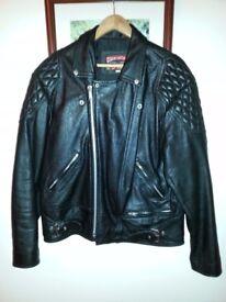 SKINTAN MENS CLASSIC BLACK Leather Motorcycle Jacket UK44 HARLEY BOBBER PERFECTO