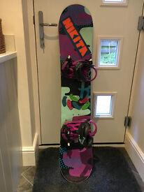 Girls K2 Kandi Snowboard 129cm and K2 Kat bindings size small
