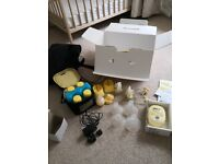 Medela freestyle double breast pump + lansinoh breast therapy