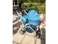 Pram - icandy Cherry Travel System Blue/chrome chasis