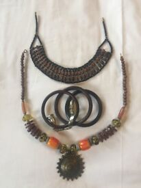 Wooden beaded necklaces and bracelets