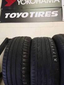 2 x branded 225/40R18 tyres 1 x Dunlop and 1 x bridgestone 5mm+ free fitting