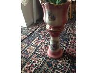 Vintage ceramic plant pot and stand