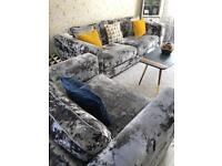 Grey Crushed velvet sofa, couch FOR SWAPS