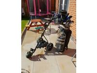 Full Golf set and 27 hole lithium golf trolley.