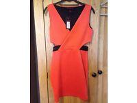 Size 8 orange bodycon cut out dress