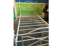 White steel single bed frame