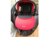Red silver cross car seat