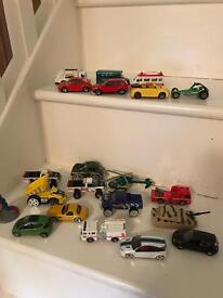 20 toys- cars, helicopter, bus and lorry