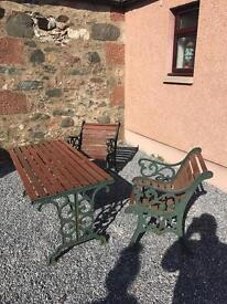 Iron cast garden furniture set
