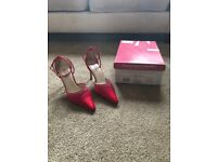 Rainbow Club Red Satin Bridesmaid Shoes for Sale