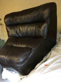 Italian Brown Leather Sofa Segments