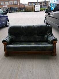 GREEN LEATHER Lounge suite
