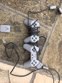 PlayStation 1 - original remotes and memory card