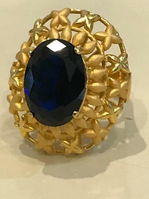 VINTAGE Movie R Dark Blue Sapphire Large Crystal 14K Gold Plated Marked 406 Ring